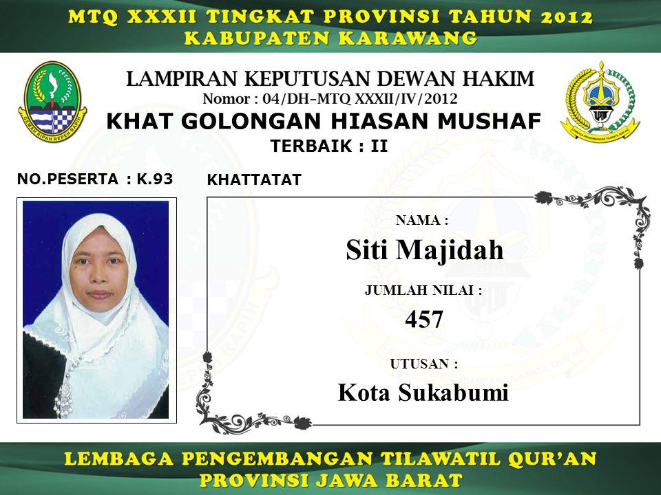 K.93 TERBAIK : II NO.PESERTA : KHAT GOLONGAN HIASAN MUSHAF KHATTATAT Siti Majidah NAMA : UTUSAN : Kota Sukabumi JUMLAH NILAI : 457