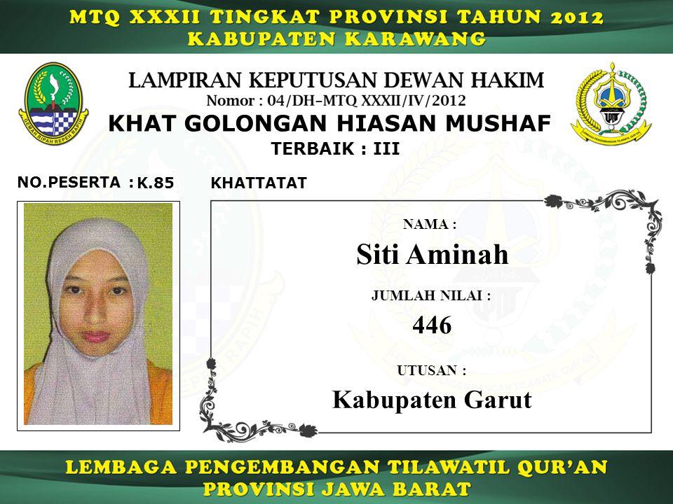 K.85 TERBAIK : III NO.PESERTA : KHAT GOLONGAN HIASAN MUSHAF KHATTATAT Siti Aminah NAMA : UTUSAN : Kabupaten Garut JUMLAH NILAI : 446