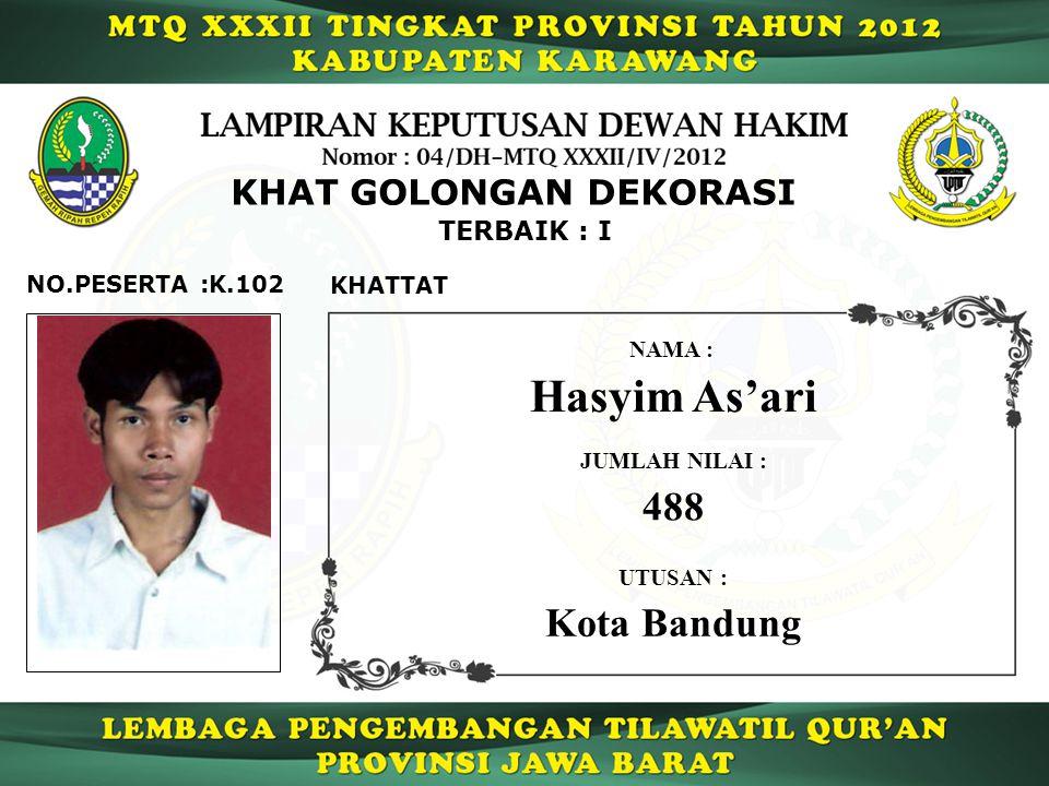 TERBAIK : I K.102NO.PESERTA : KHAT GOLONGAN DEKORASI KHATTAT Hasyim As'ari NAMA : UTUSAN : Kota Bandung JUMLAH NILAI : 488
