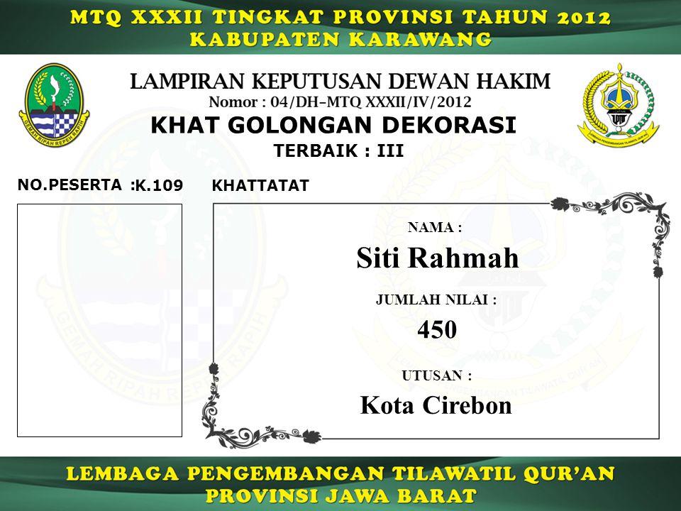 K.109 TERBAIK : III NO.PESERTA : KHAT GOLONGAN DEKORASI KHATTATAT Siti Rahmah NAMA : UTUSAN : Kota Cirebon JUMLAH NILAI : 450