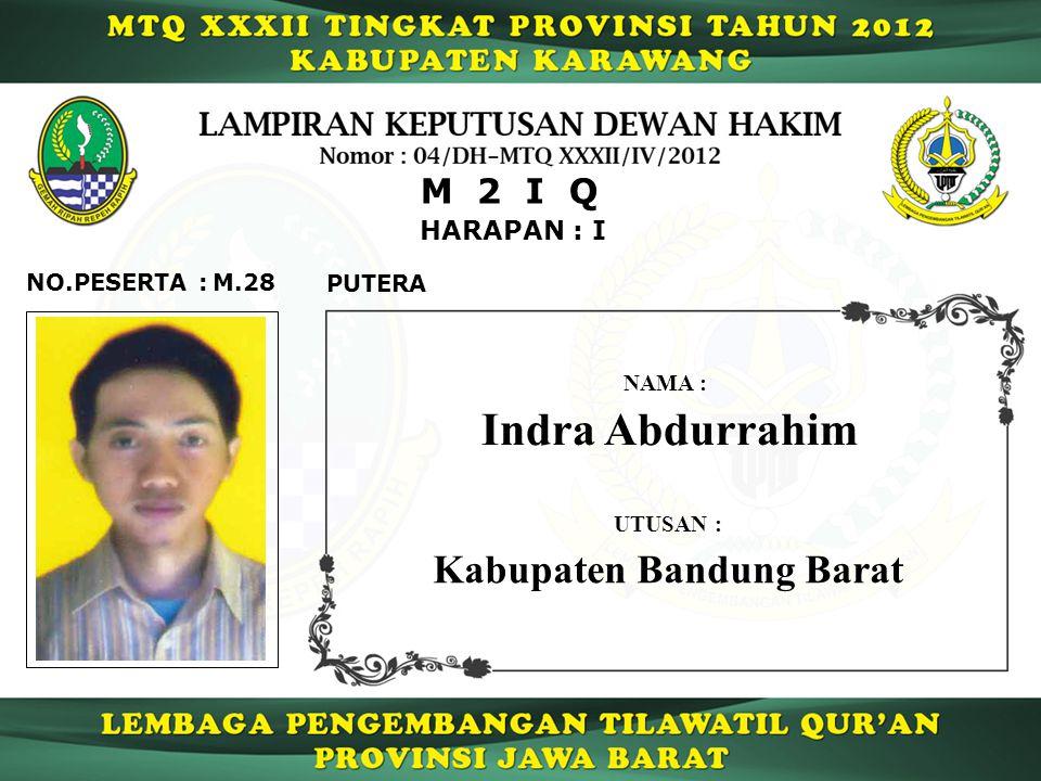 HARAPAN : I M 2 I Q M.28NO.PESERTA : PUTERA Indra Abdurrahim NAMA : UTUSAN : Kabupaten Bandung Barat