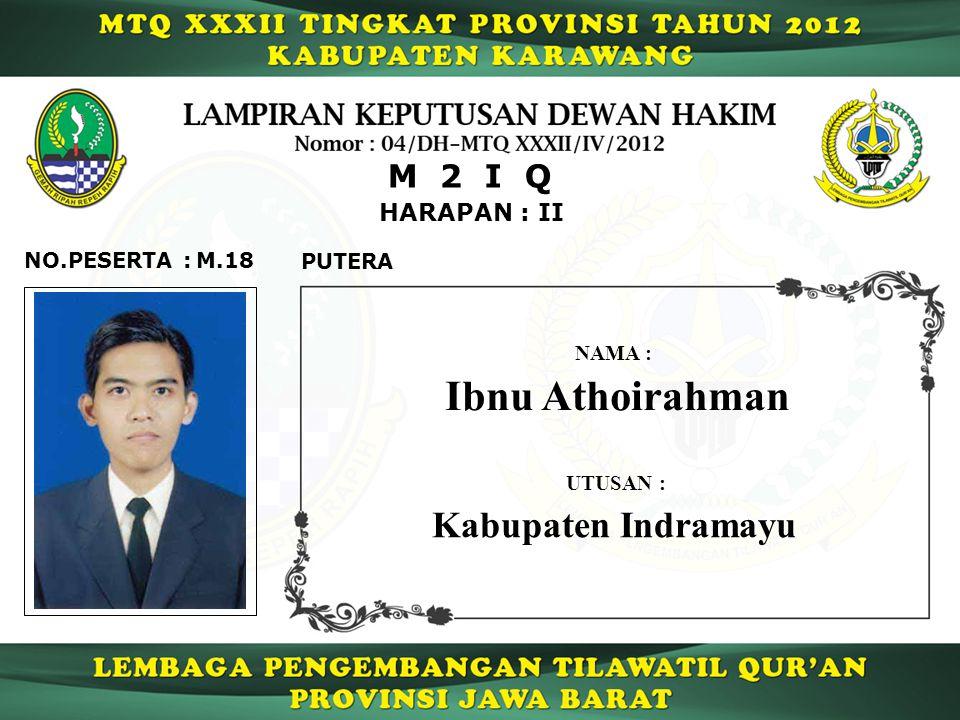HARAPAN : II M 2 I Q M.18NO.PESERTA : PUTERA Ibnu Athoirahman NAMA : UTUSAN : Kabupaten Indramayu