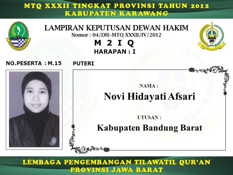 HARAPAN : I M 2 I Q M.15NO.PESERTA : PUTERI Novi Hidayati Afsari NAMA : UTUSAN : Kabupaten Bandung Barat