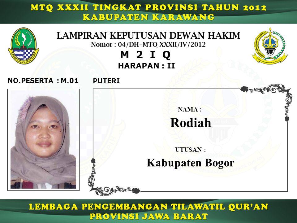 HARAPAN : II M 2 I Q M.01NO.PESERTA : PUTERI Rodiah NAMA : UTUSAN : Kabupaten Bogor