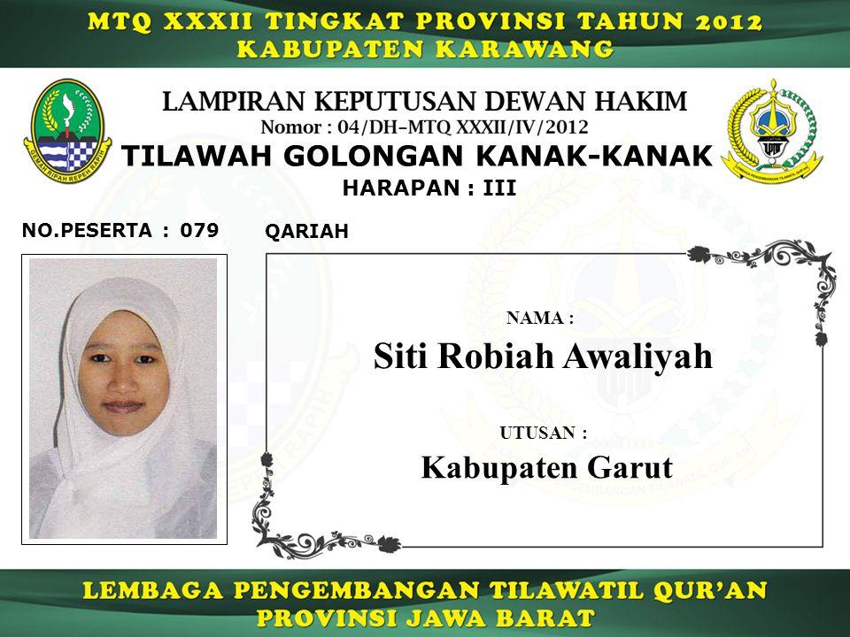 HARAPAN : III TILAWAH GOLONGAN KANAK-KANAK 079 QARIAH NO.PESERTA : Siti Robiah Awaliyah NAMA : UTUSAN : Kabupaten Garut