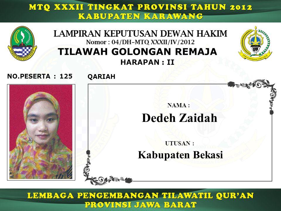 HARAPAN : II TILAWAH GOLONGAN REMAJA 125 QARIAH NO.PESERTA : Dedeh Zaidah NAMA : UTUSAN : Kabupaten Bekasi