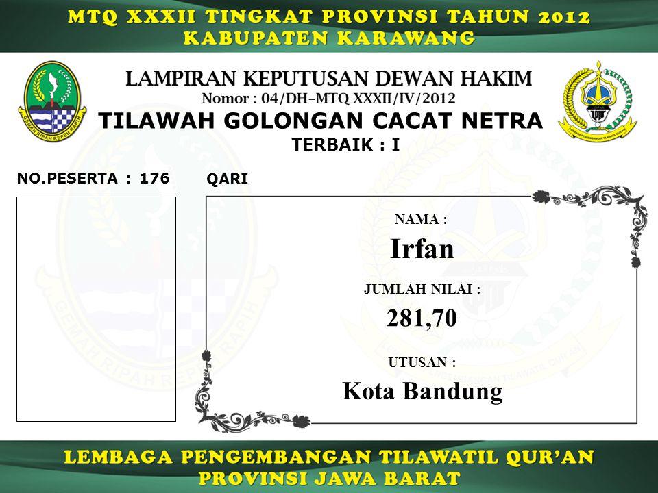 TILAWAH GOLONGAN CACAT NETRA TERBAIK : I 176 QARI NO.PESERTA : Irfan NAMA : UTUSAN : Kota Bandung JUMLAH NILAI : 281,70
