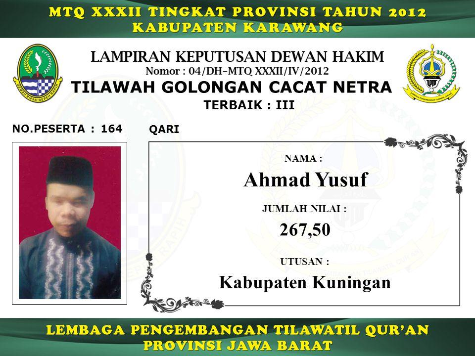 164 TERBAIK : III QARI NO.PESERTA : TILAWAH GOLONGAN CACAT NETRA Ahmad Yusuf NAMA : UTUSAN : Kabupaten Kuningan JUMLAH NILAI : 267,50