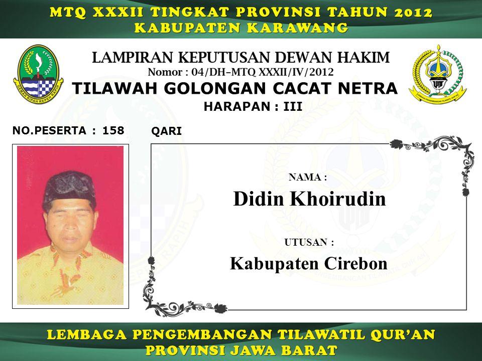 158 HARAPAN : III QARI NO.PESERTA : TILAWAH GOLONGAN CACAT NETRA Didin Khoirudin NAMA : UTUSAN : Kabupaten Cirebon