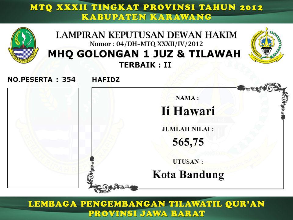 354 TERBAIK : II NO.PESERTA : MHQ GOLONGAN 1 JUZ & TILAWAH HAFIDZ Ii Hawari NAMA : UTUSAN : Kota Bandung JUMLAH NILAI : 565,75