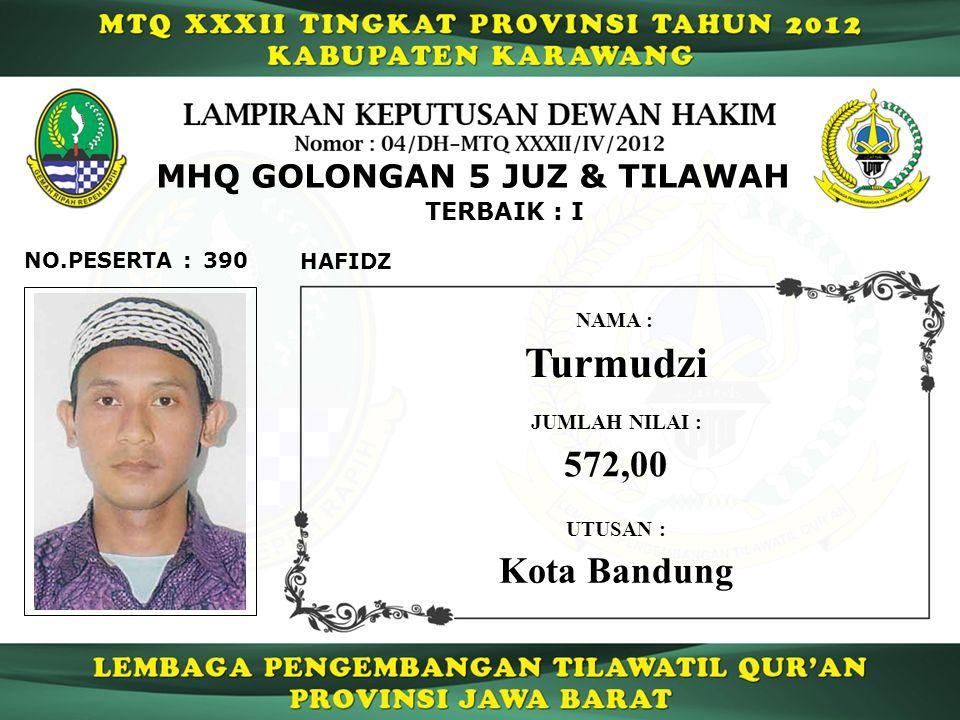 TERBAIK : I 390NO.PESERTA : MHQ GOLONGAN 5 JUZ & TILAWAH HAFIDZ Turmudzi NAMA : UTUSAN : Kota Bandung JUMLAH NILAI : 572,00