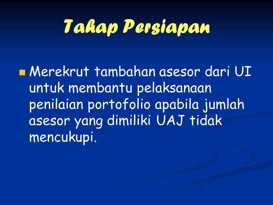 Tahap Persiapan Merekrut tambahan asesor dari UI untuk membantu pelaksanaan penilaian portofolio apabila jumlah asesor yang dimiliki UAJ tidak mencukupi.