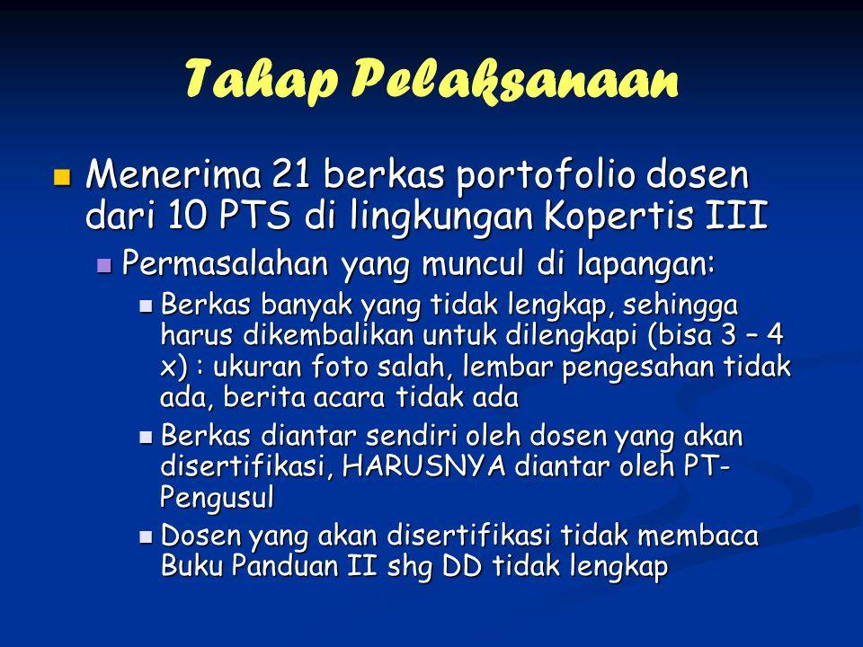 Tahap Pelaksanaan Menerima 21 berkas portofolio dosen dari 10 PTS di lingkungan Kopertis III Menerima 21 berkas portofolio dosen dari 10 PTS di lingku