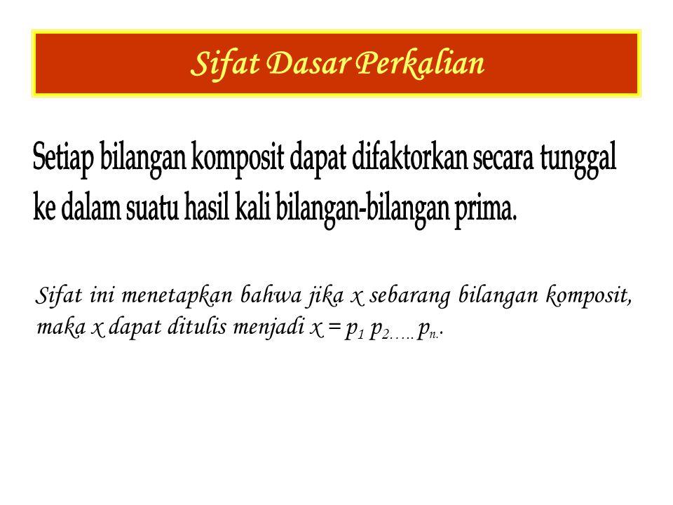 Sifat Dasar Perkalian Sifat ini menetapkan bahwa jika x sebarang bilangan komposit, maka x dapat ditulis menjadi x = p 1 p 2….. p n..