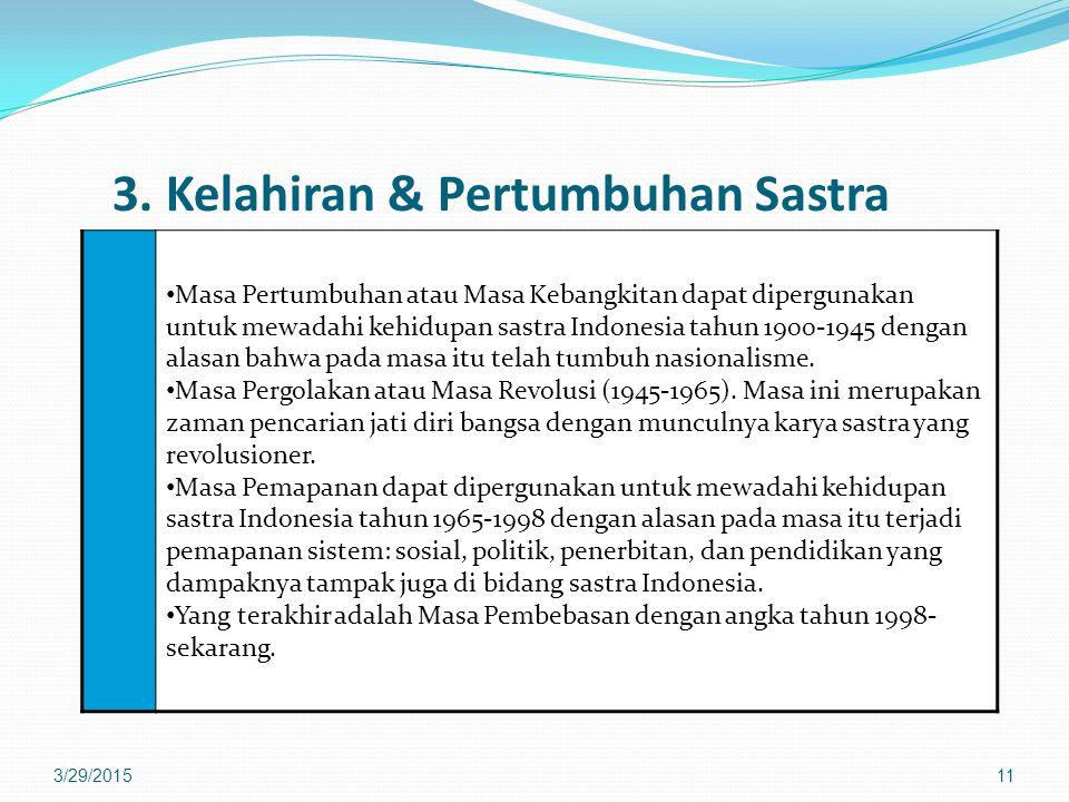 3. Kelahiran & Pertumbuhan Sastra Masa Pertumbuhan atau Masa Kebangkitan dapat dipergunakan untuk mewadahi kehidupan sastra Indonesia tahun 1900-1945