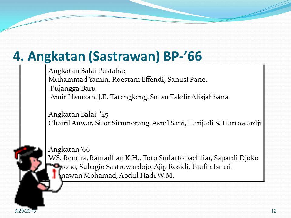 4. Angkatan (Sastrawan) BP-'66 Angkatan Balai Pustaka: Muhammad Yamin, Roestam Effendi, Sanusi Pane. Pujangga Baru Amir Hamzah, J.E. Tatengkeng, Sutan