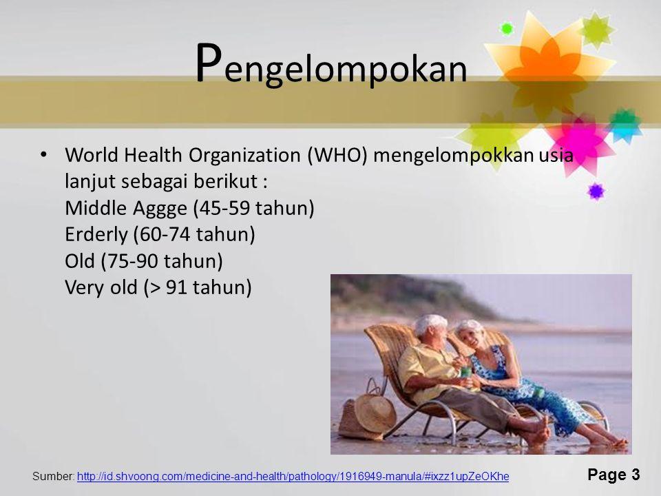 Page 3 P engelompokan World Health Organization (WHO) mengelompokkan usia lanjut sebagai berikut : Middle Aggge (45-59 tahun) Erderly (60-74 tahun) Old (75-90 tahun) Very old (> 91 tahun) Sumber: http://id.shvoong.com/medicine-and-health/pathology/1916949-manula/#ixzz1upZeOKhehttp://id.shvoong.com/medicine-and-health/pathology/1916949-manula/#ixzz1upZeOKhe