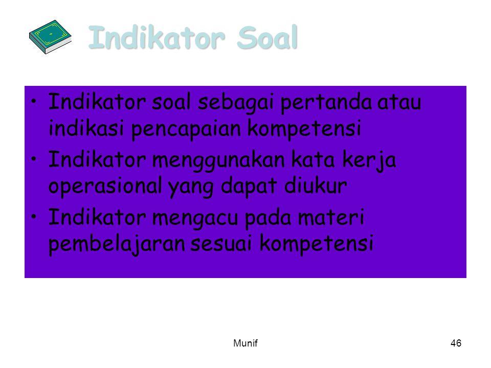 Munif46 Indikator soal sebagai pertanda atau indikasi pencapaian kompetensi Indikator menggunakan kata kerja operasional yang dapat diukur Indikator m