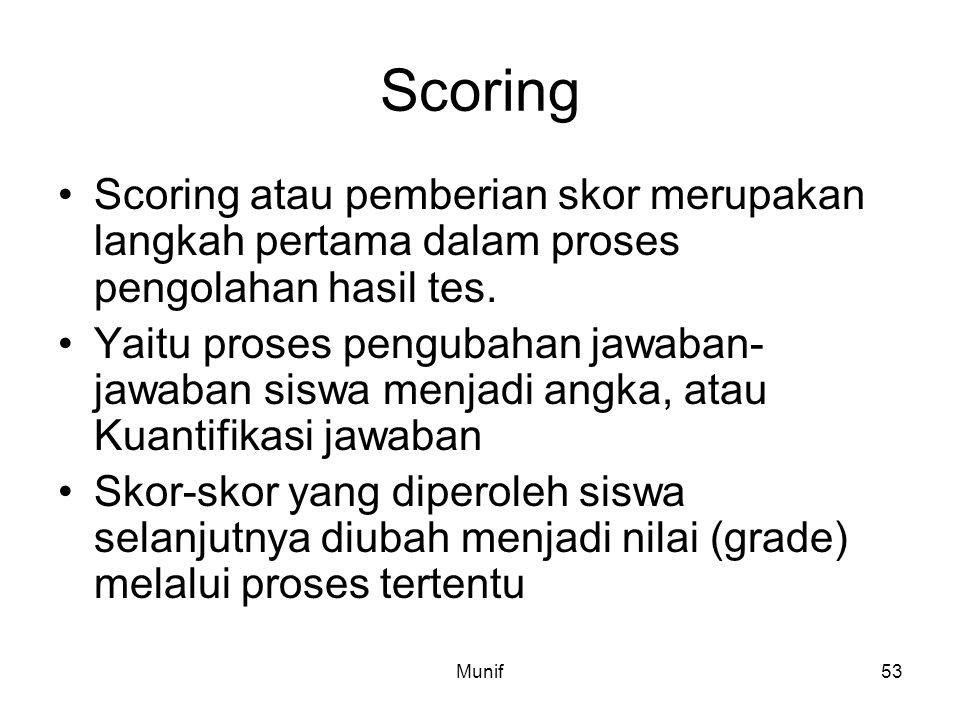 Munif53 Scoring Scoring atau pemberian skor merupakan langkah pertama dalam proses pengolahan hasil tes. Yaitu proses pengubahan jawaban- jawaban sisw