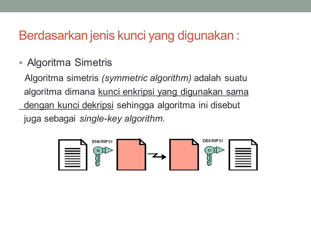 Berdasarkan jenis kunci yang digunakan :  Algoritma Simetris Algoritma simetris (symmetric algorithm) adalah suatu algoritma dimana kunci enkripsi ya