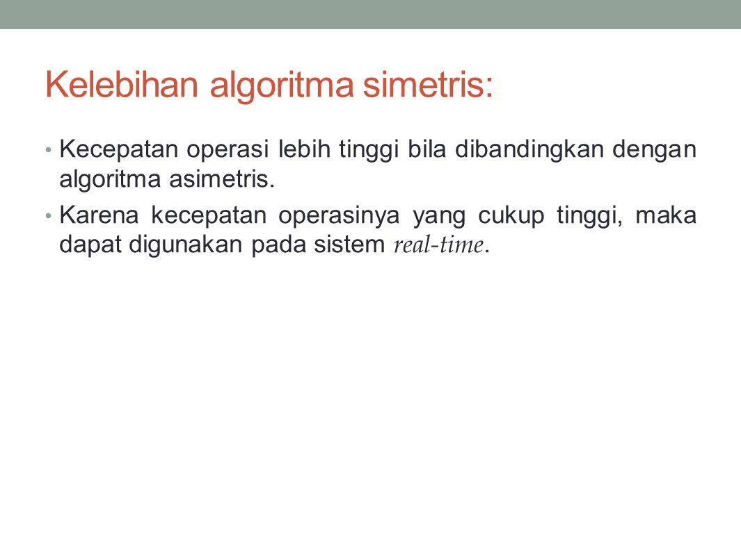 Kelebihan algoritma simetris: Kecepatan operasi lebih tinggi bila dibandingkan dengan algoritma asimetris. Karena kecepatan operasinya yang cukup ting