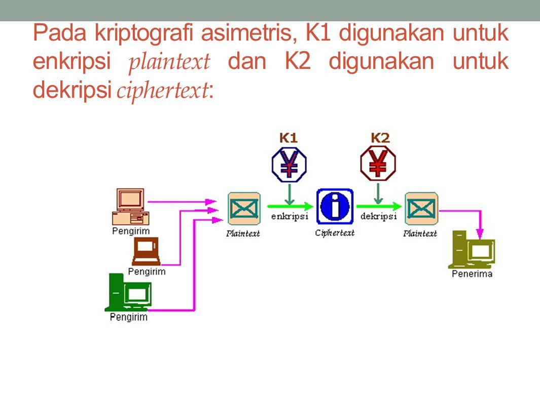 Pada kriptografi asimetris, K1 digunakan untuk enkripsi plaintext dan K2 digunakan untuk dekripsi ciphertext :