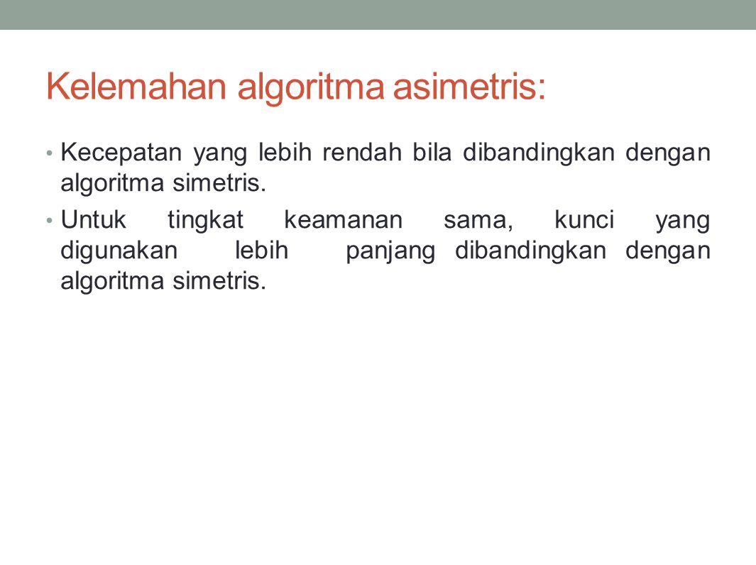 Kelemahan algoritma asimetris: Kecepatan yang lebih rendah bila dibandingkan dengan algoritma simetris. Untuk tingkat keamanan sama, kunci yang diguna
