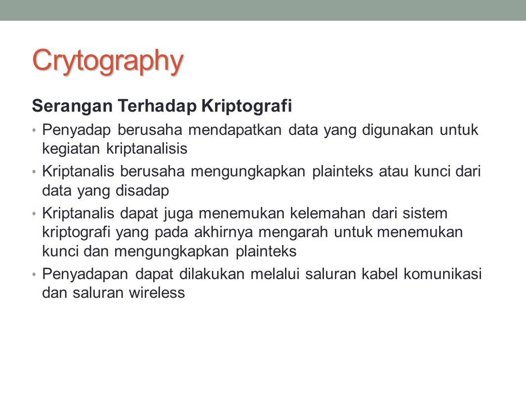 Crytography Serangan Terhadap Kriptografi Penyadap berusaha mendapatkan data yang digunakan untuk kegiatan kriptanalisis Kriptanalis berusaha mengungk