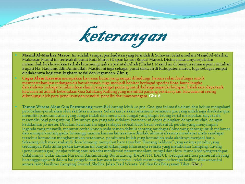 keterangan Masjid Al-Markaz Maros. Ini adalah tempat peribadatan yang terindah di Sulawesi Selatan selain Masjid Al-Markaz Makassar. Masjid ini terlet