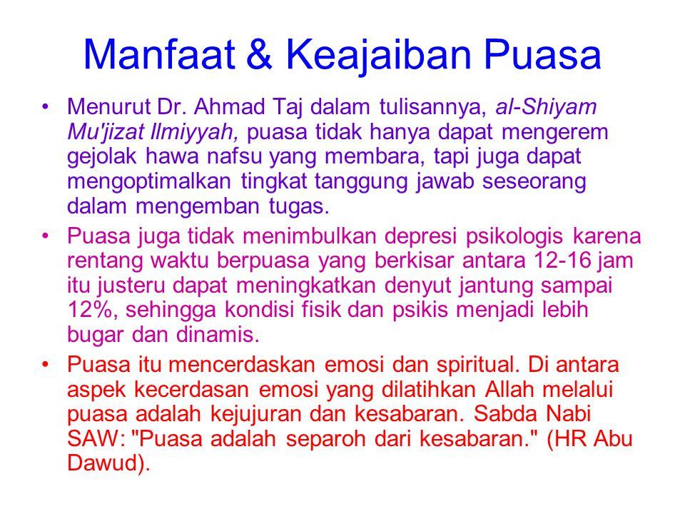 Manfaat & Keajaiban Puasa Menurut Dr. Ahmad Taj dalam tulisannya, al-Shiyam Mu'jizat Ilmiyyah, puasa tidak hanya dapat mengerem gejolak hawa nafsu yan