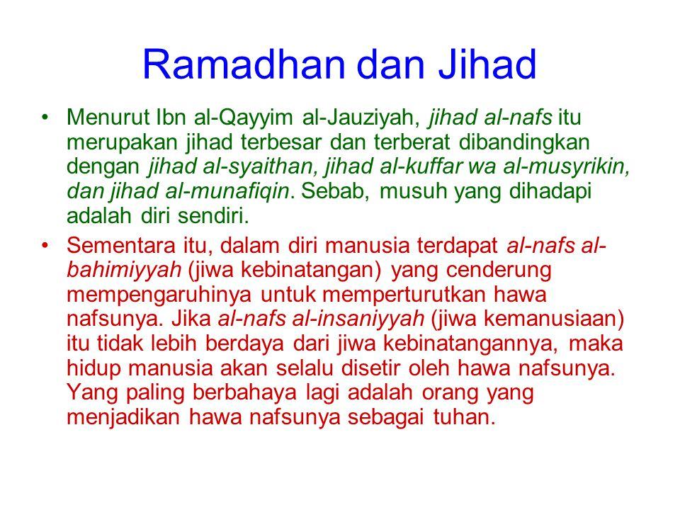 Ramadhan dan Jihad Menurut Ibn al-Qayyim al-Jauziyah, jihad al-nafs itu merupakan jihad terbesar dan terberat dibandingkan dengan jihad al-syaithan, j