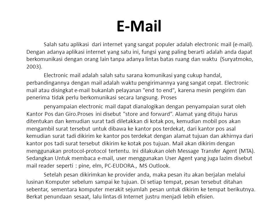 E-Mail Salah satu aplikasi dari internet yang sangat populer adalah electronic mail (e-mail).