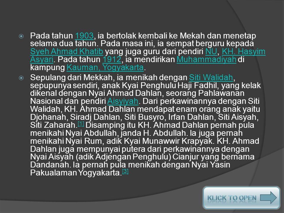 LATAR BELAKANG KELUARGA DAN PENDIDIKAN  Nama kecil KH. Ahmad Dahlan adalah Muhammad Darwis. Ia merupakan anak keempat dari tujuh orang bersaudara yan
