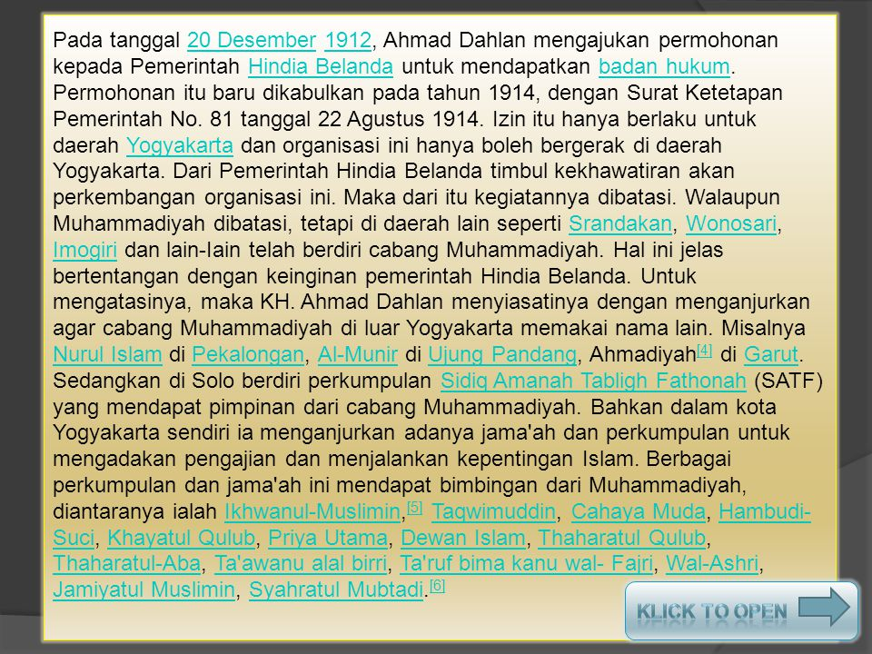  Gagasan pendirian Muhammadiyah oleh Ahmad Dahlan ini juga mendapatkan resistensi, baik dari keluarga maupun dari masyarakat sekitarnya. Berbagai fit