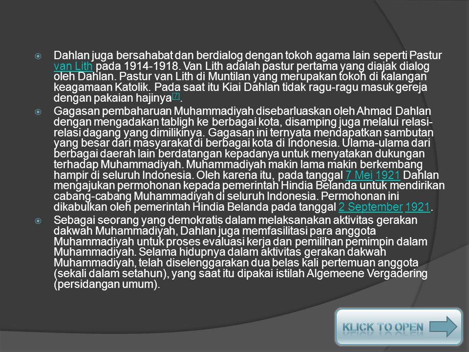 Pada tanggal 20 Desember 1912, Ahmad Dahlan mengajukan permohonan kepada Pemerintah Hindia Belanda untuk mendapatkan badan hukum.