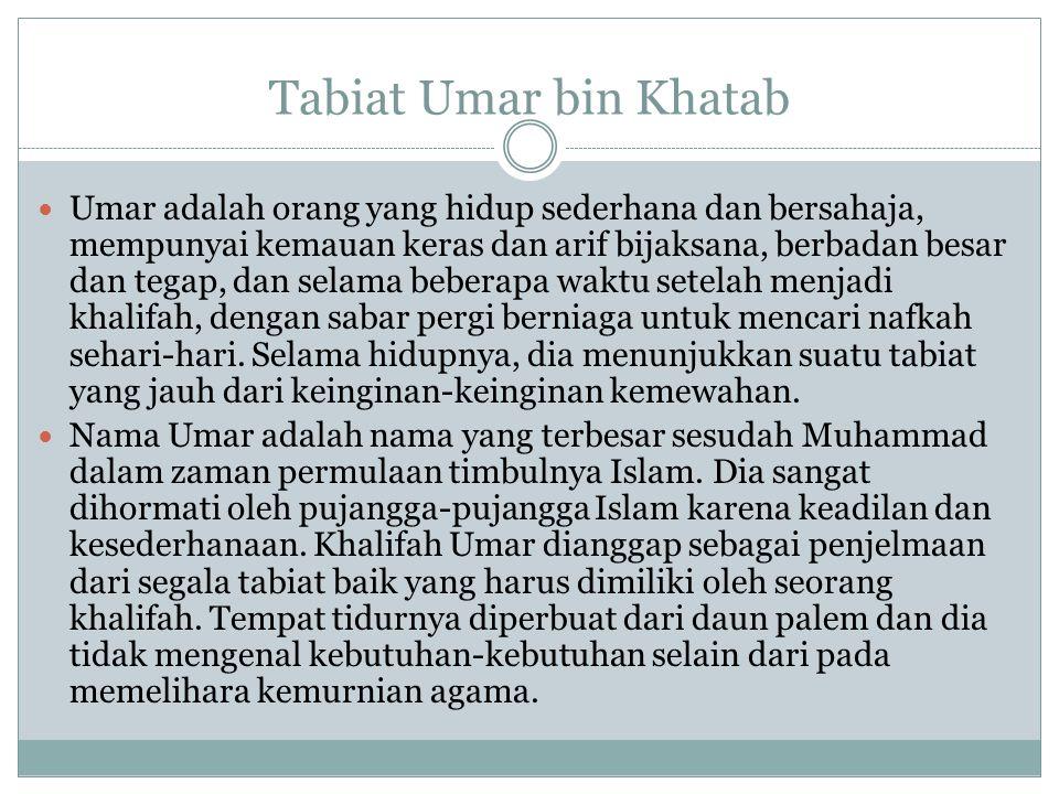 Tabiat Umar bin Khatab Umar adalah orang yang hidup sederhana dan bersahaja, mempunyai kemauan keras dan arif bijaksana, berbadan besar dan tegap, dan selama beberapa waktu setelah menjadi khalifah, dengan sabar pergi berniaga untuk mencari nafkah sehari-hari.