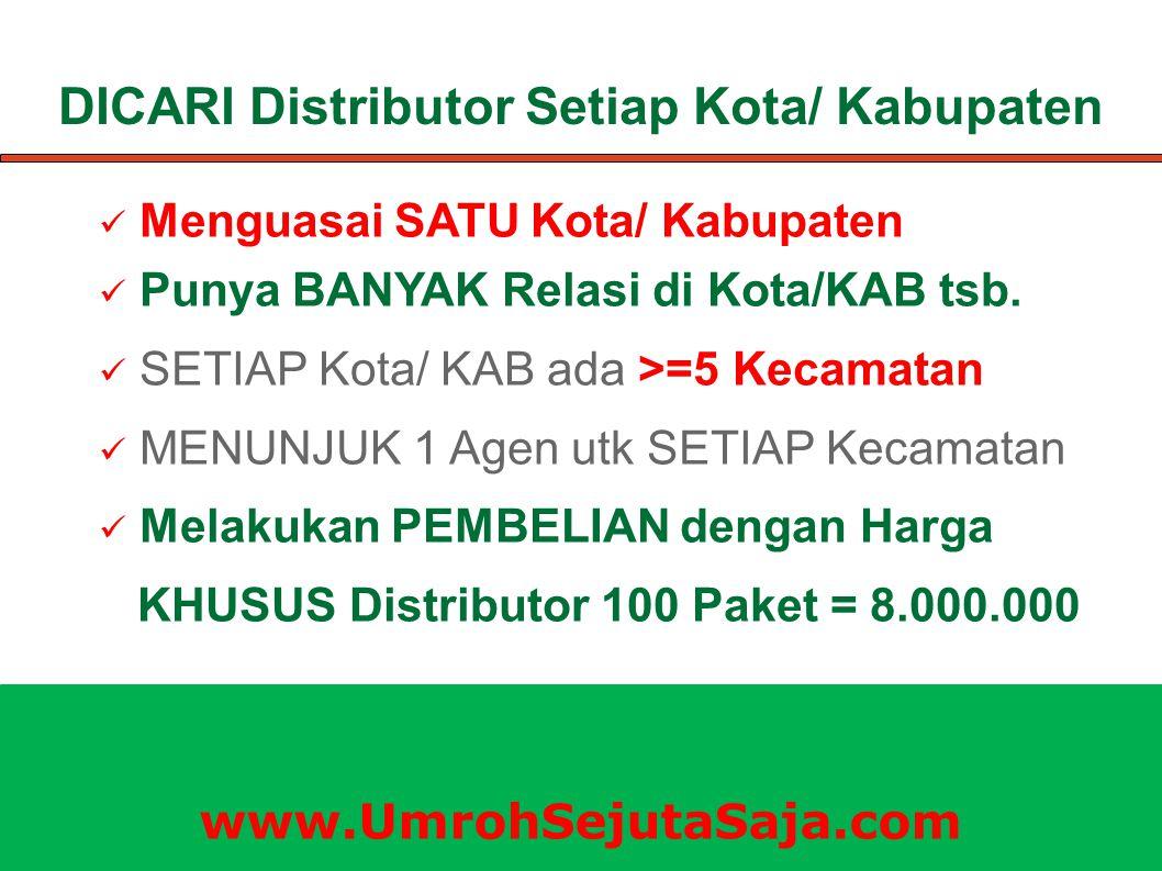 DICARI Distributor Setiap Kota/ Kabupaten Menguasai SATU Kota/ Kabupaten Punya BANYAK Relasi di Kota/KAB tsb. SETIAP Kota/ KAB ada >=5 Kecamatan MENUN