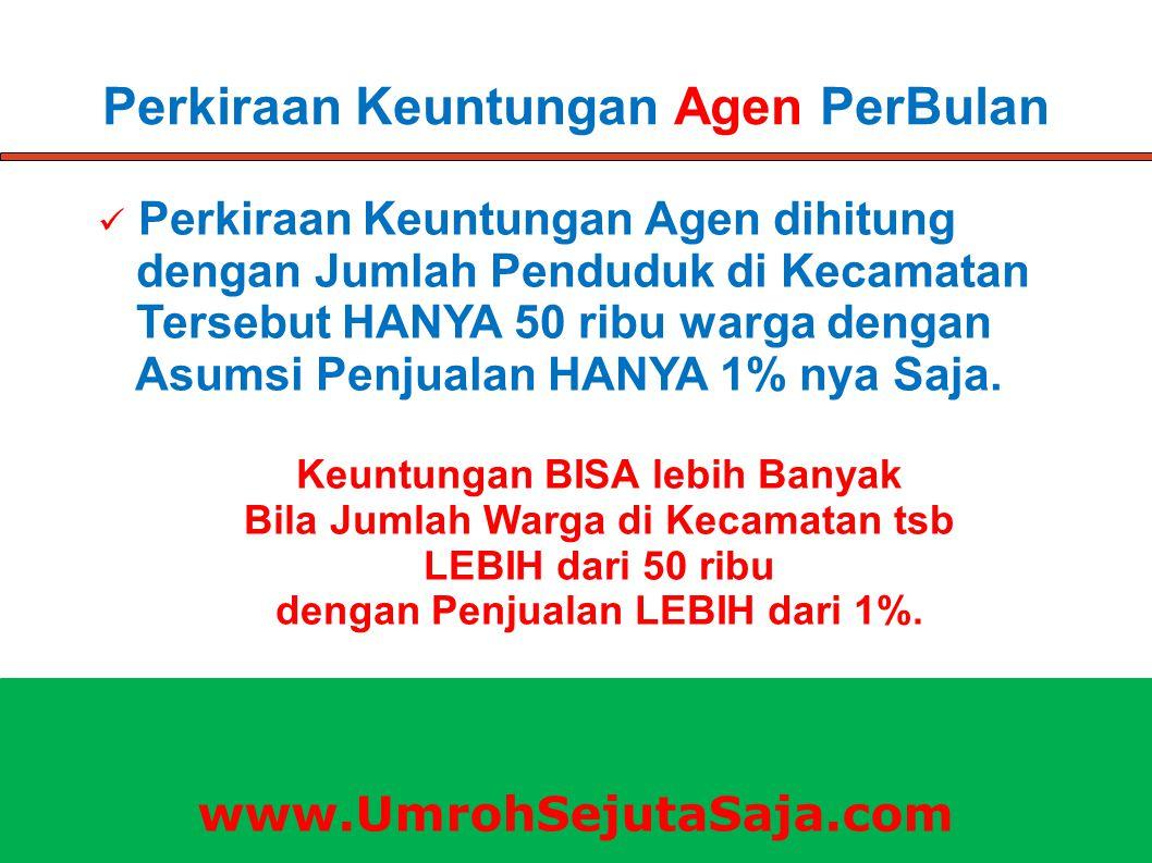 Perkiraan Keuntungan Agen PerBulan Perkiraan Keuntungan Agen dihitung dengan Jumlah Penduduk di Kecamatan Tersebut HANYA 50 ribu warga dengan Asumsi P