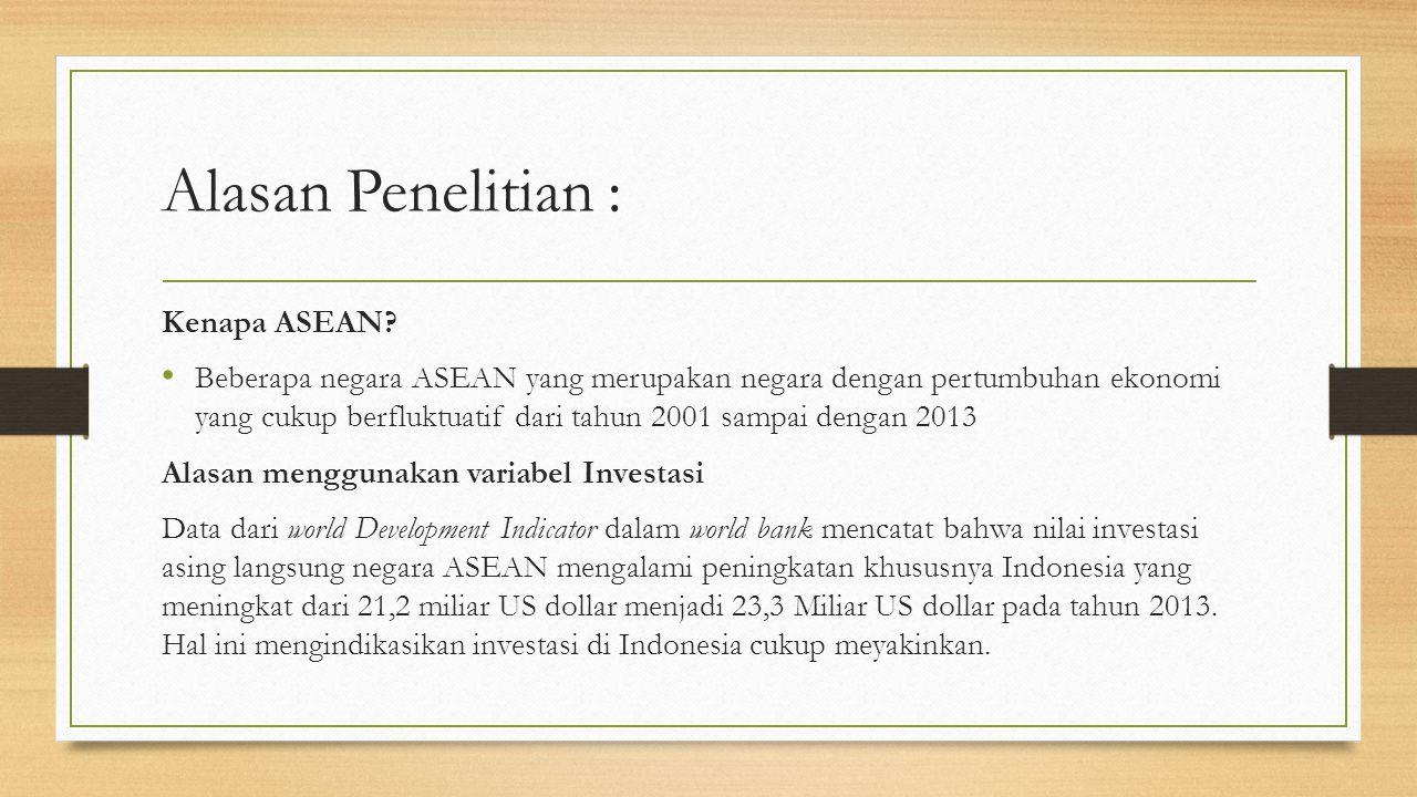 Alasan Penelitian : Kenapa ASEAN.
