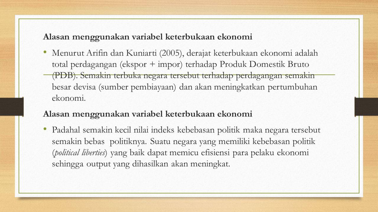 Alasan menggunakan Variabel Indeks Korupsi Karena bersih tidaknya suatu negara dari korupsi itu merupakan salah satu faktor negara tersebut berkembang