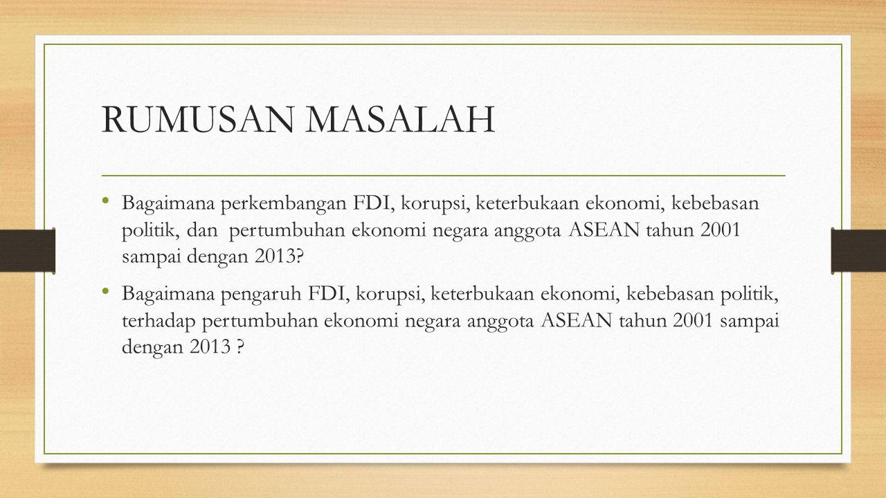RUMUSAN MASALAH Bagaimana perkembangan FDI, korupsi, keterbukaan ekonomi, kebebasan politik, dan pertumbuhan ekonomi negara anggota ASEAN tahun 2001 sampai dengan 2013.