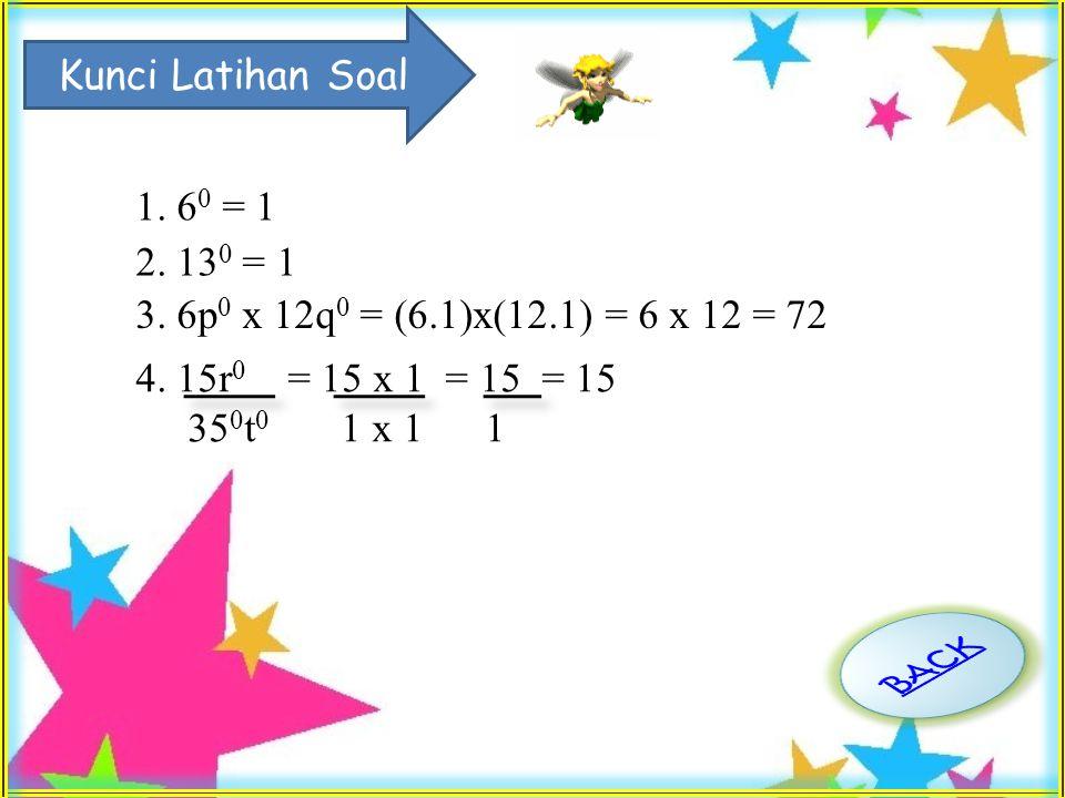 Latihan Soal Hitunglah nilai pangkat berikut. 1.6 0 2.13 0 3.6p 0 x 12q 0 4.15r 0 35 0 t 0