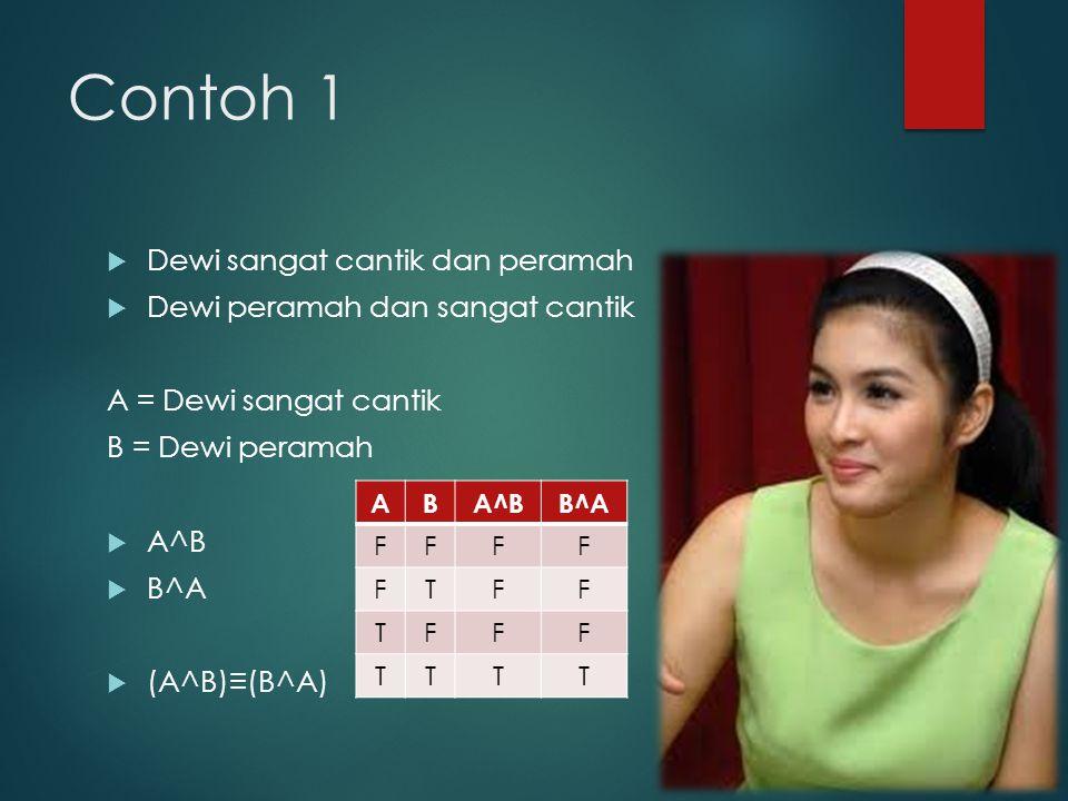 Contoh 1  Dewi sangat cantik dan peramah  Dewi peramah dan sangat cantik A = Dewi sangat cantik B = Dewi peramah  A^B  B^A  (A^B)≡(B^A) ABA^BB^A