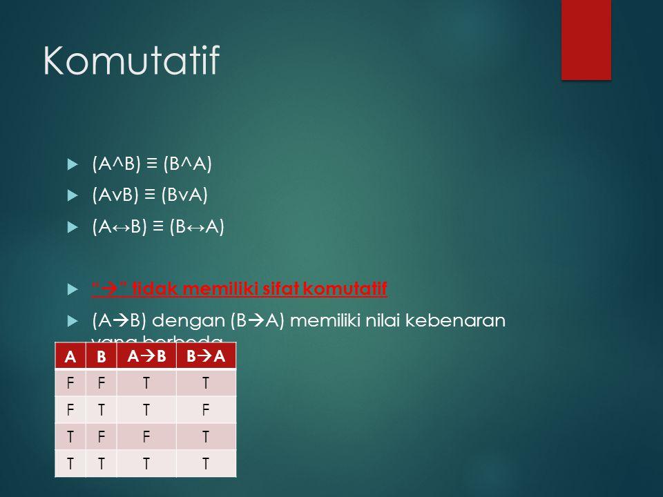 """Komutatif  (A^B) ≡ (B^A)  (AvB) ≡ (BvA)  (A↔B) ≡ (B↔A)  """"  """" tidak memiliki sifat komutatif  (A  B) dengan (B  A) memiliki nilai kebenaran yan"""