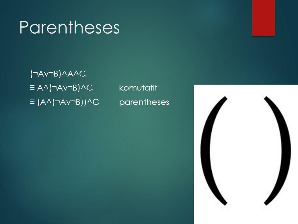 Parentheses (¬Av¬B)^A^C ≡ A^(¬Av¬B)^C komutatif ≡ (A^(¬Av¬B))^Cparentheses