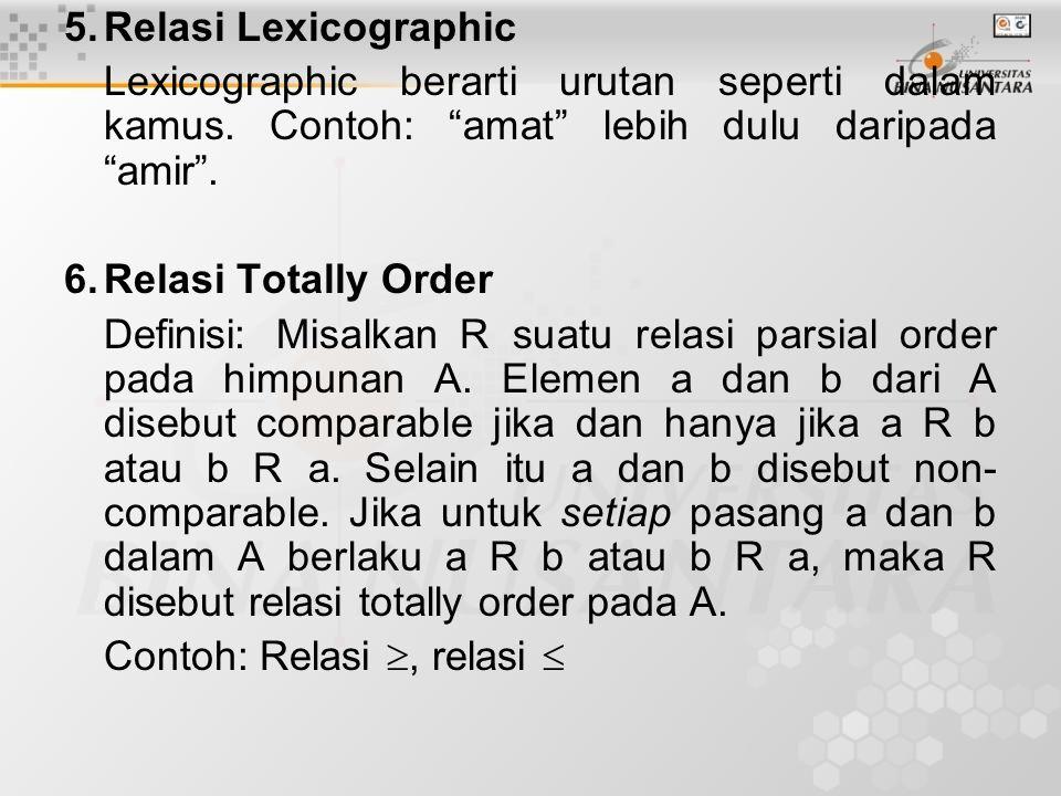 Penutup Beberapa relasi lanjutan: –Relasi n-ary: dari A –Relasi kongruensi –Kelas Ekuivalen dari relasi ekuivalen –Relasi lexicographic –Relasi Totally Order