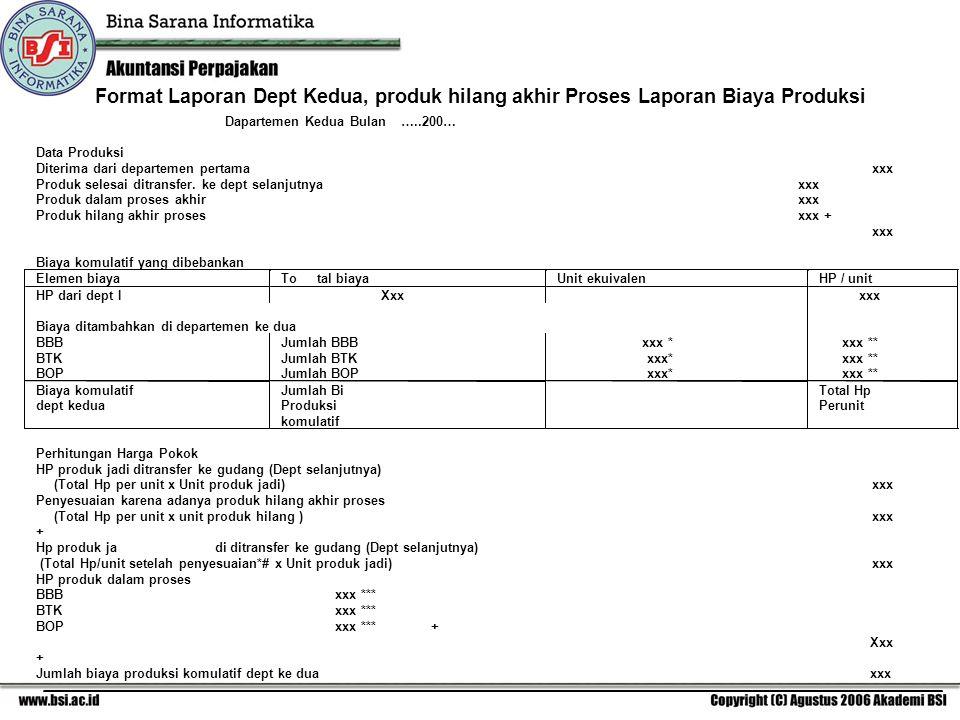 Format Laporan Dept Kedua, produk hilang akhir Proses Laporan Biaya Produksi