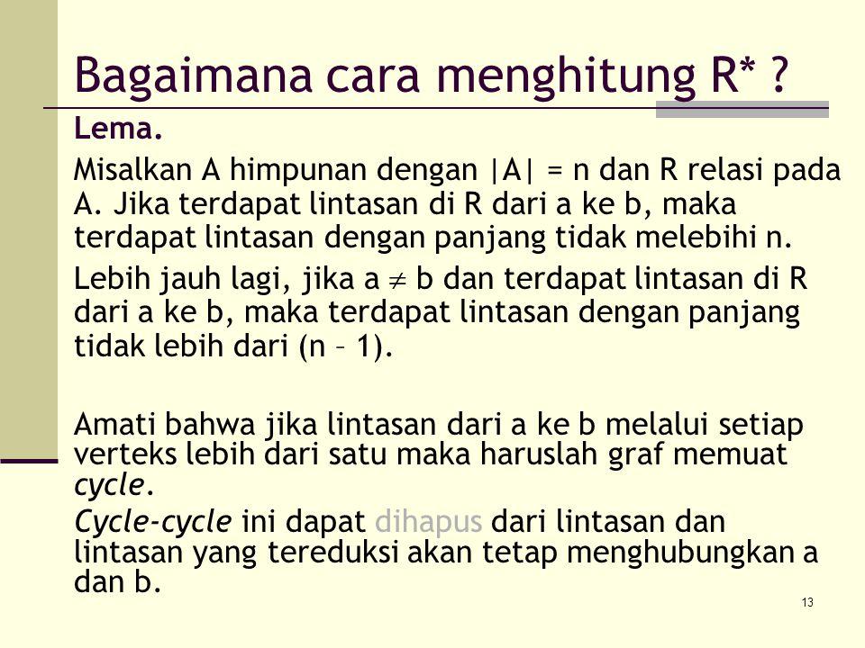 13 Lema.Misalkan A himpunan dengan |A| = n dan R relasi pada A.