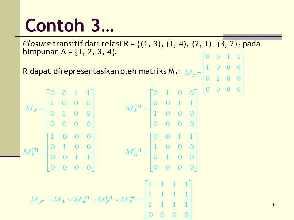 15 Closure transitif dari relasi R = {(1, 3), (1, 4), (2, 1), (3, 2)} pada himpunan A = {1, 2, 3, 4}. R dapat direpresentasikan oleh matriks M R : Con