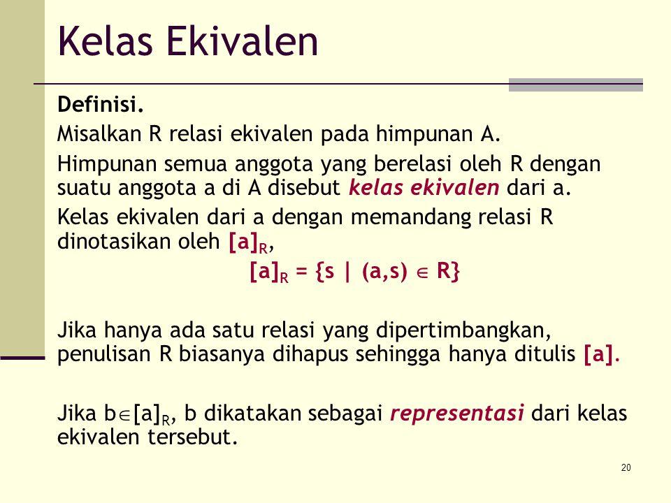 20 Definisi. Misalkan R relasi ekivalen pada himpunan A. Himpunan semua anggota yang berelasi oleh R dengan suatu anggota a di A disebut kelas ekivale
